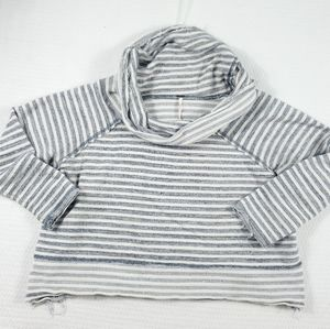 Free People Cotton Striped Cropped Cowl Sweater